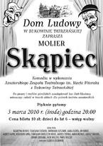 """Sztuka teatralna """"Skąpiec"""", godz. 20.00"""