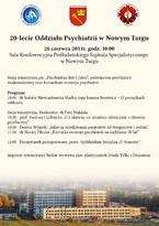 20. rocznicy utworzenia Oddziału Psychiatrii