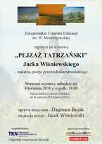 """""""Pejzaż tatrzański""""- wystawa prac malarskich Jacka Wiśniewskiego"""
