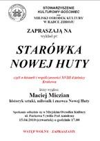 Wykład Stowarzyszenia Kulturowy Gościniec i MOKu pt. Starówka Nowej Huty