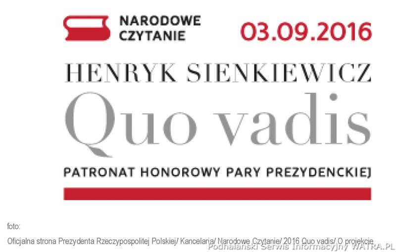 Wspólne Czytanie Quo Vadis 3 Września 2016 Zaproszenia