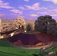 Odnowiona muszla koncertowa, dach nad amfiteatrem