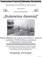 """Pokaz multimedialny """"Bukowina dawniej"""""""