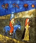 Anna Liscar, Ucieczka do Egiptu, obraz na szkle, 1991