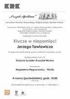 """Promocja tomiku """"Klucze w niepamięci"""" Jerzego Tawłowicza"""