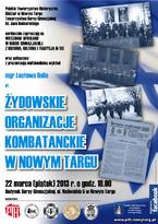 """Wykład """"Żydowskie organizacje kombatanckie w Nowym Targu"""""""