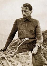"""Wiesław Stanisłąwski na Jaworowym Rogu, fot. Henryk Mogilnicki, z """"Taternika"""" 1933."""