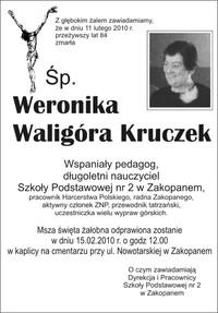 Zmarła Weronika Waligóra Kruczek